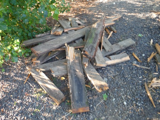 What is left of the original trailer decking.